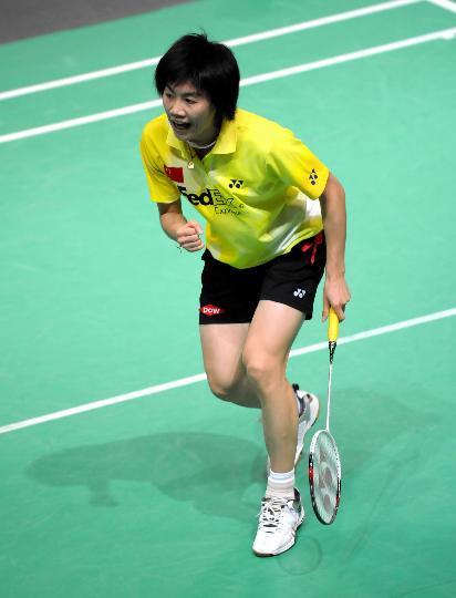图文-中国澳门羽毛球公开赛赛况朱晶晶庆祝胜利