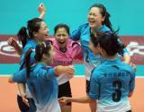 图文-全国女排联赛天津队成就第6冠激动庆祝