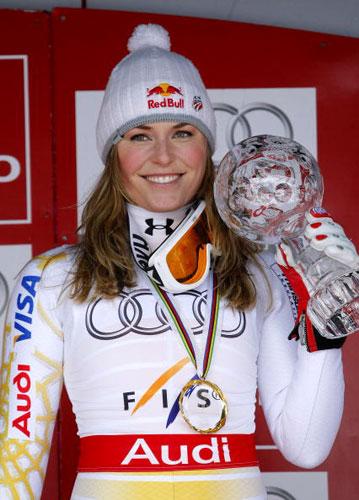 图文-林赛-沃恩获阿尔卑滑雪世界杯冠军好靓的冠军