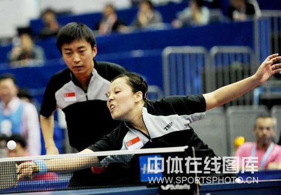 图文-世乒赛混双第二轮王越古/杨子晋级32强