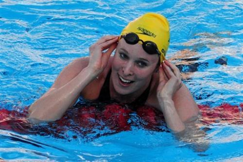 图文-游泳世锦赛女子50米蝶泳决赛开心尽写脸上