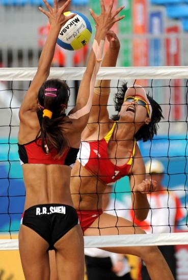 全运女子沙滩排球半决赛 王露扣球助山西进决赛