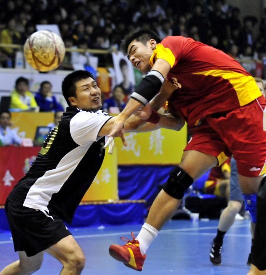 图文-手球力量北京29-27山东男子的比拼_v图文羽毛球手酸图片