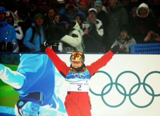 图文-自由式滑雪空中技巧决赛郭心心张开双臂