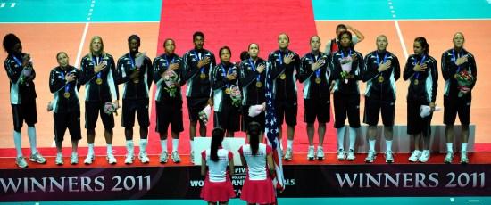 颁奖仪式上的美国队