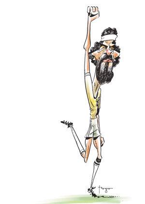 右手握拳,手臂高举,这是苏格拉底标志性的庆祝动作。 巴西插画家 Gilmar Fraga 绘于12月5日