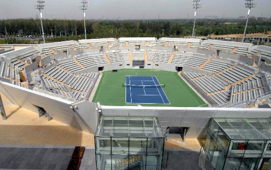 图文-奥运网球中心竣工交付使用 鸟瞰一号赛场