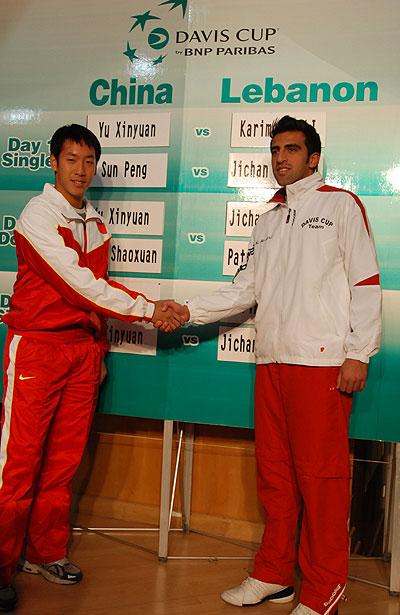 图文-戴维斯杯中国vs黎巴嫩抽签于欣源与单打对手