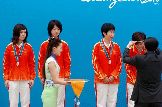 中国女队领奖