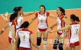 中国女排庆祝得分