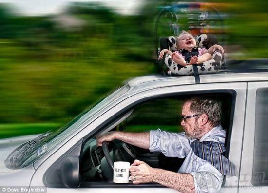 Alice在他爸爸开车上班的路上,经历了一场可怕的车顶历险记